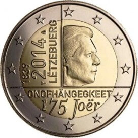2 euro commémorative Luxembourg 2014 independance