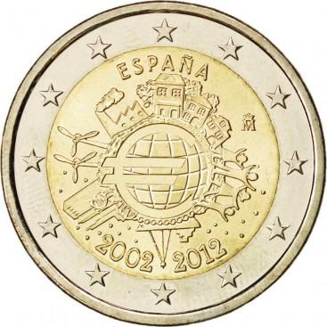 """2€ """"10 ans de l'euro """" Espagne 2012"""
