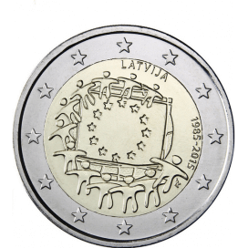 2 Euro Lettonie 2015 Drapeau