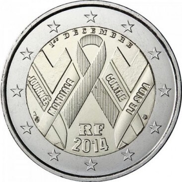 2 euro commemorative France 2014-SIDA