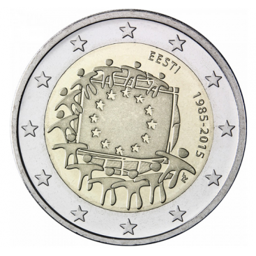 2 Euro Estonie 2015 Drapeau