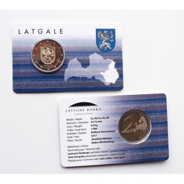 Coincard 2 Euro Lettonie 2017 Les Armoiries de Latgale