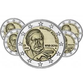 5 x 2 euro Allemagne 2018 100 e anniversaire de la naissance d'Helmut Schmidt