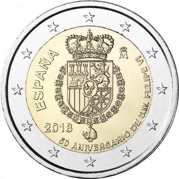 2 Euro Espagne 2018 50e anniversaire du Roi FELIPE VI