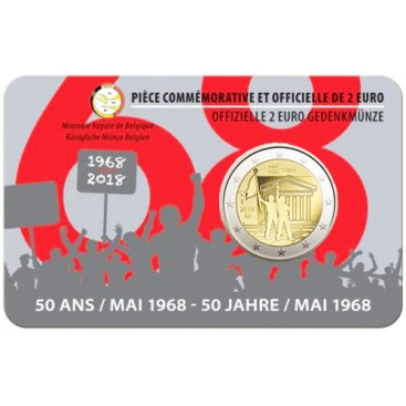 Coincard Francaise 2 Euro Belgique 2018 50e anniversaire de mai 1968