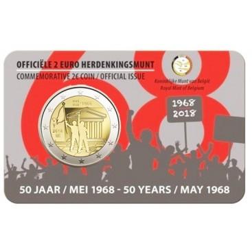 Coincard Flamande 2 Euro Belgique 2018 50e anniversaire de mai 1968