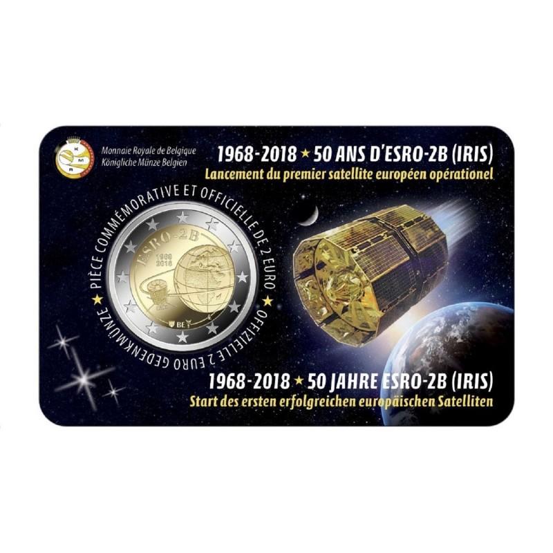 Coincard Francaise 2 Euro Belgique 2018 50 Ans Du Satellite Esro 2b