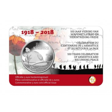 5 Euro Belgique 2018 100 ans de la grande guerre