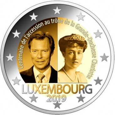 2 Euro Luxembourg 2019 100e anniversaire de l'accession au trône de la Grande-Duchesse Charlotte.