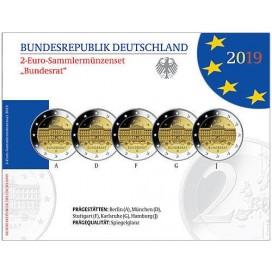 5 x 2 euro BE Allemagne 2019 70 ans du Bundesrat
