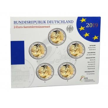 5 x 2 euro BU Allemagne 2019 Mur de Berlin
