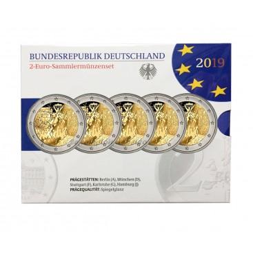 5 x 2 euro BE Allemagne 2019 Mur de Berlin