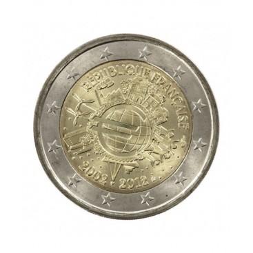 """2 Euro """"10 ans de l'euro """" France 2012"""
