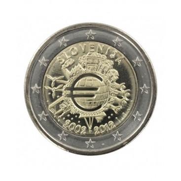 """2 Euro """"10 ans de l'euro """" Slovénie 2012"""