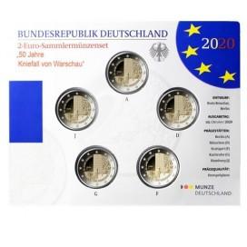 5 x 2 euro Allemagne 2020 Brillant universel BU - 50 ans de la Génuflexion de Willy Brandt