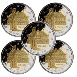 5 x 2 Euro Allemagne 2010 -Breme atelier ADFGJ